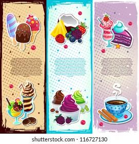 Set of dessert bookmarks