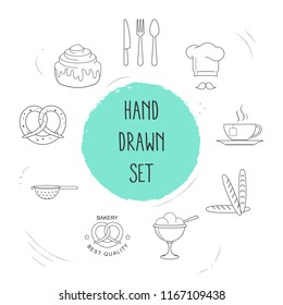 Set of dessert icons line style symbols with cinnamon roll, colander, sundae icons for your web mobile app logo design.