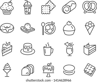 set of dessert icons, such as cake, crepe, bekery, pudding