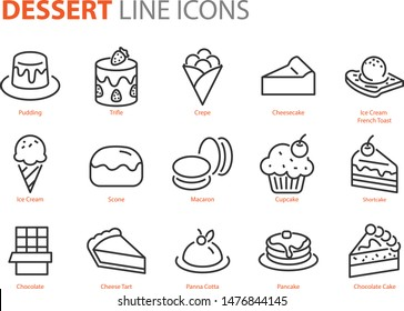 set of dessert icons, sweet, bakery, cake