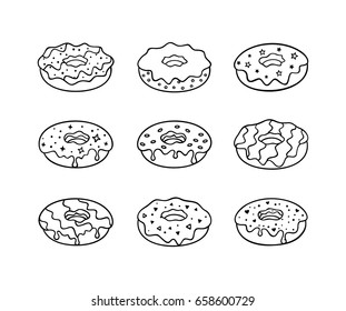 Set of desserts. Vector line icons. Donuts.