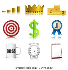 Set of detailed business concept icons. EPS10 vector.