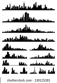 set of detailed city skyline silhouettes