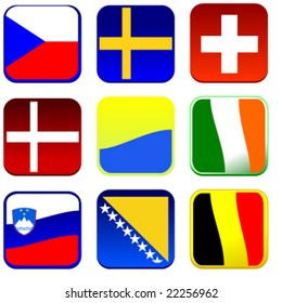 set of detailed flag icons europe vector illusrtation part 2 of 4
