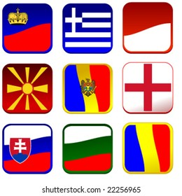 set of detailed flag icons europe vector illusrtation part 3 of 4