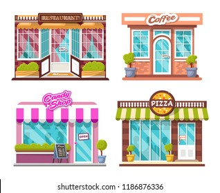 Set of detailed flat design city public buildings with storefronts and different interior design elements. Pizza, candy shop, coffee house, restaurant, bushes, logos, windows with shadows of people.