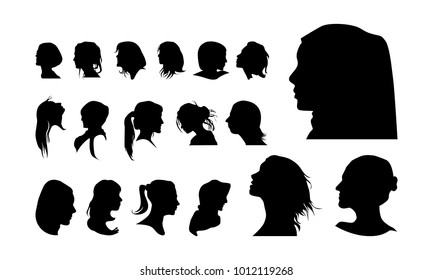 set of detailed Girl head avatar face silhouette vector illustration