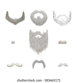 Set of detailed gray mustaches and beards isolated on white