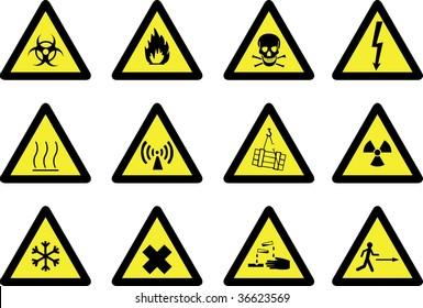 Set of detailed hazard signs.