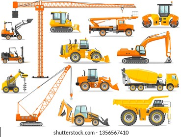 Set of detailed heavy construction and mining machines in flat style on the white background. Building machinery. Special equipment. Vector illustration.