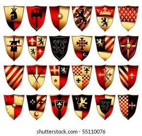 set of detailed heraldic medieval shields