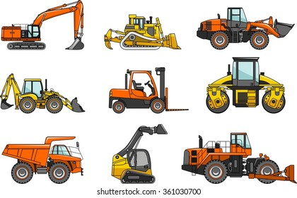 Set of detailed illustration heavy construction machines isolated on white background in flat style. Vector illustration