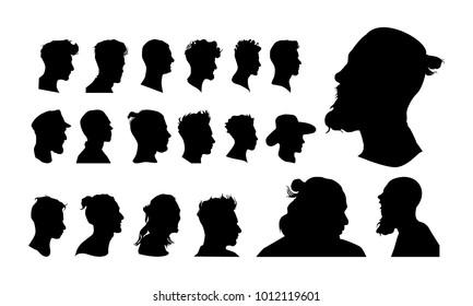 set of detailed man head avatar face silhouette vector illustration