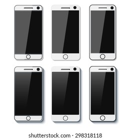 Set of detailed phones with shadows. Vector illustration