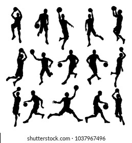 A set of detailed silhouette basketball players in lots of different poses