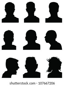 Set of detailed silhouettes of heads 2,vector