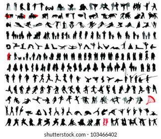 Set of detailed  silhouettes of heads,vector