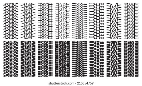 A set of detailed tire prints. Eight tracks white and eight black.