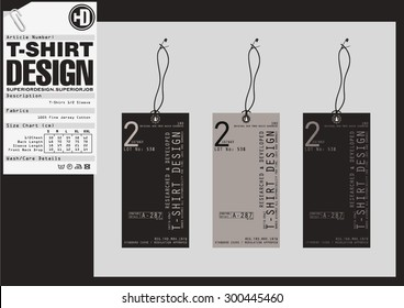 Set of detailed t-shirt tags