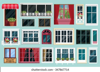 Set of detailed various colorful windows with windowsills, curtains, flowers, balconies. Flat style vector illustration