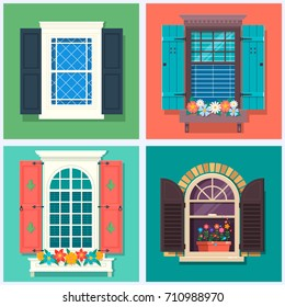 Set of detailed various colorful windows with windowsills, shutters, curtains, and flowers pot Flat style vector illustration