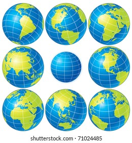 Flags globe vector sphere flags world stock vector royalty free set of detailed vector globes showing earth with all continents freerunsca Image collections