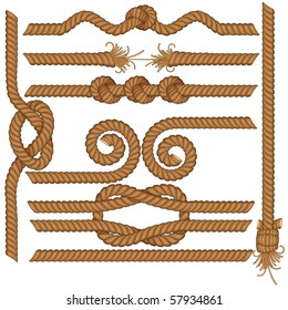 Set of detailed vector rugged rope borders with knots, wave, spirals etc, SIMILAR IMAGES SEE AT MY GALLERY