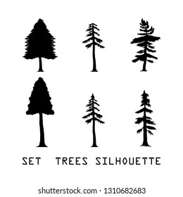 Set Detailed vectoral trees silhouette.vector illustration isolated on white background.  african, pine Trees Silhouettes. abstract trees design eps.10 Detailed vectoral silhouettes of trees bushs