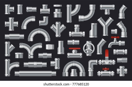 Set of  details pipes different types collection. Plumbing, water pipes sewage. Different types collection of water tube. Industry gas valve. Construction and industrial pressure technology plumbing.
