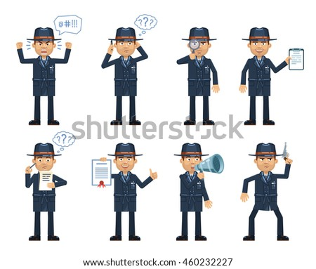 set detective characters dark coat posing stock vector royalty free