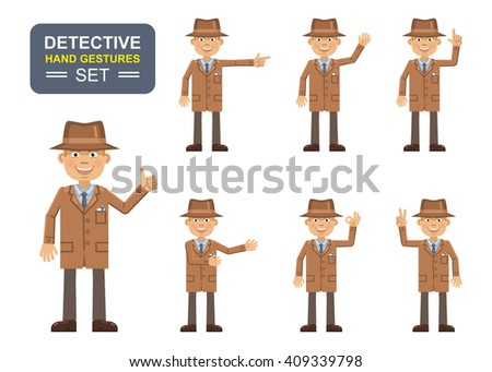 set detective characters showing different hand stock vector
