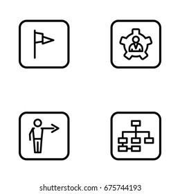 Set of development and advancement outline vector icons.