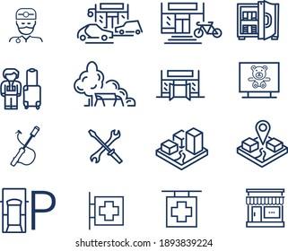 set of development icons: parks, city, advertising