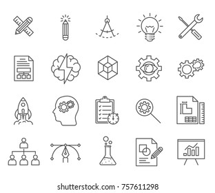 Set of development Related Vector Line Icons. Includes such Icons as idea, brain, personal growth, reflections, brainstorming, startup and etc.