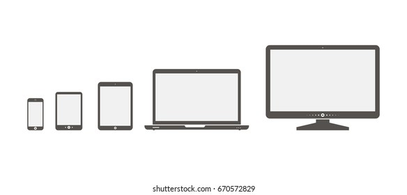 Set of devices icons. Set of devices icons.  Devices isolated on white background.  Icons: computer screen, laptop, tablet pc, smartphone, electronic book - stock vector illustration