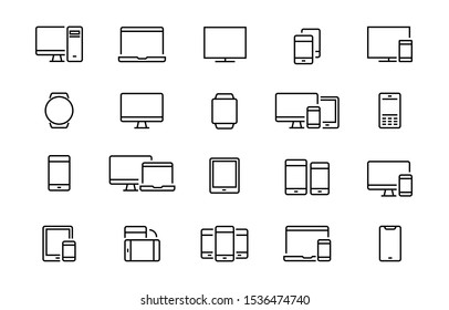 Set of devices icons. Сollection of linear simple web icons such as laptops, phones, gadgets, watches and tablets.Editable vector stroke. 96x96 Pixel Perfect.