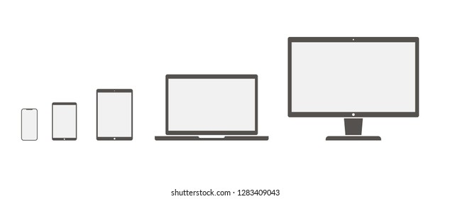 Set of devices icons.Device icon.Computer icon. Laptop icon. Smartphone icon.  Computer screen, laptop, tablet pc, smartphone, electronic book - stock vector illustration