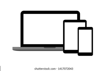 Set of devices as mockup for responsive web design. Flat vector illustration of laptop, tablet, smartphone with different screen sizes and ratio. Website UI optimization concept with portable gadgets.