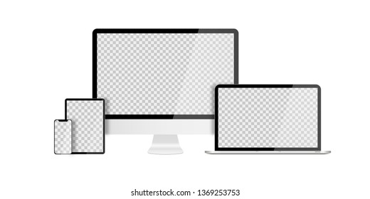 Set of devices on white background. Computer laptop tablet and smartphone with empty screens. Mock up. EPS 10