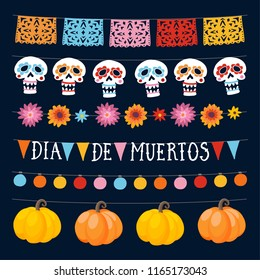 Set of Dia de los Muertos, Mexican Day of the Dead garlands with lights, bunting flags, ornamental skulls and pumpkins. Collection of Halloween garden party decorations. Isolated vector objects.