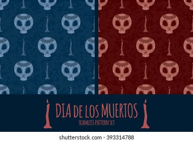 set of Dia de Muertos cartoon Skull Ornate Day of The Dead seamless pattern