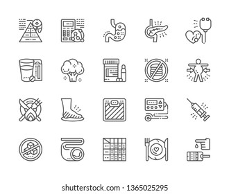 Set of Diabetes Line Icons. Heartburn, Pancreatic Diseases, Abdominal Distention, Obesity, Leg Swelling, Electrocardiogram, Atherosclerosis, Glucometer and more. Pack of 48x48 Pixel Icons