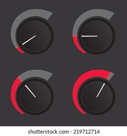 A set of dials at low to high levels.