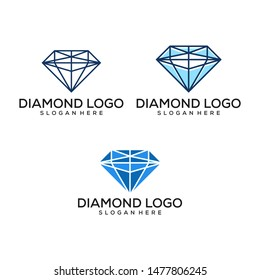 Set of diamond. Design element for logo, label, sign, t shirt. Vector illustration logo design