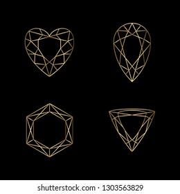 Set of Diamond Icons and Logo Design Elements
