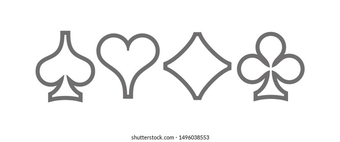 Set diamonds, clovers, hearts and spades Four Playing card suits line icons template. High quality outline Playing card suit symbol pictogram for web design or mobile app isolated on white background
