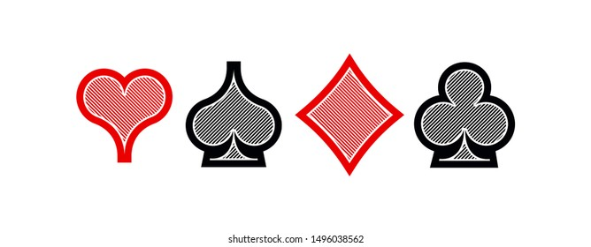 Set diamonds clovers hearts spades Four Playing card suits icons template black and red color editable. High quality outline Playing card suit symbol mobile app pictogram isolated on white background