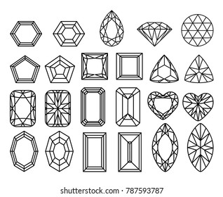 set of diamonds, precious stones of different forms of cut. Line drawing. Cartoon flat gems jewels diamond brilliant vector set.