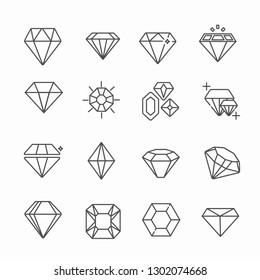 Set of diamonds Related Vector Line Icons. Includes such icons as gems, Topaz, ruby, adamant. - Vector