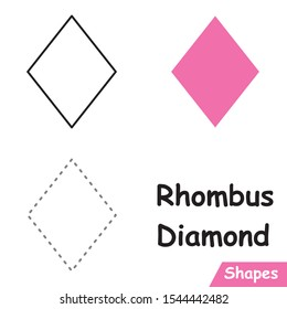 Set of Diamonds - Rhombus ready to use for education such as coloring pages, trace shapes. learn Diamond - Rhombus shape.